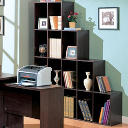 DECARIE - BOOKCASE - This cool contemporary bookcase will make a bold addition to your home office or living room. The unique asymmetrical step style of this cube shelving unit features clean sharp lines, in a rich dark finish that will really make a statement. Add books, pictures, and decorative accent items for a one-of-a-kind look with real personality. This open bookcase is the perfect choice for your contemporary home.