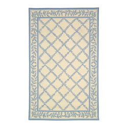 """Safavieh - Chelsea Brown/Blue Area Rug HK230A - 2'6"""" x 4' - 100% pure virgin wool pile, hand-hooked to a durable cotton backing. American Country and turn-of-the-century European designs. This collection is handmade in China exclusively for Safavieh."""