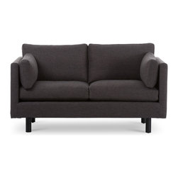Bryght - Nova Bard Gray Loveseat - The Nova collection characterizes a Danish design that elegantly unifies modern minimalist lines with functionality. Upholstered to perfection in a classic basket weave fabric that brings forth elements of harmony and affinity to your space.