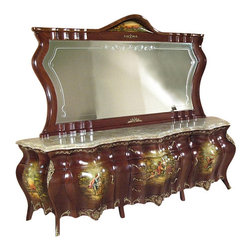 Painted French Bombe Buffet Sideboard Server - This product is finely constructed from top grade solid wood. Artisans use the old world method of tongue and groove and mortise and tenon joinery to create this beautiful and durable piece of furniture. Its superb hand-crafted quality will add a touch of elegance to your home.