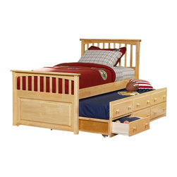 Atlantic Furniture - Atlantic Furniture Mate's Storage Bed with 3 Drawer Trundle in Natural Maple-Ful - Atlantic Furniture - Beds - AP8336035 - This transitional styled mate's bed is available in full or twin sizes and is ideal for teens of both genders. With its mission design head and footboards natural maple finish and a three drawer trundle, this bed is time-tested style and function all in one.