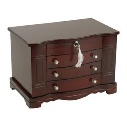 Mele Rita Wooden Jewelry Box - 13W x 8.75H in. - Delight yourself or your favorite recipient with the Rita Jewelry Box - the perfect way to organize and safely store even large jewelry collections! Fumbling for just the right piece of jewelry in a jumbled box can be frustrating and the Rita solves that problem with a multitude of storage options so you can put things where they belong and know right where to find them later. This charming box features a cherry finish and a scalloped lid with an interior mirror. Beneath the lid is a top section with ring rolls in the middle and three equally-sized compartments on either side. Three drawers run down the front: one offers open storage one is divided into six sections and the third is divided into four sections. But that's not all; side doors on both sides of the box swing open to reveal necklace storage with three hooks behind each door. This jewelry box locks securely with the included tassel key lock. It is hand-lined in sand suede fabric and features pearl drawer pulls for an extra-special touch. Measures 13W x 8.25D x 8.75H inches. About MeleEmidio Mele an Italian immigrant to the United States came to New York City in 1896 and learned to make jewelry boxes as an apprentice before founding Mele Manufacturing in 1912. He began by designing and building elegant displays for jewelry store windows. His jewelry box making business grew throughout the 1900s responding to demands for boxes to hold Purple Hearts during WWII and developing as a popular household name for quality jewelry boxes. Today Mele Jewelry Box is known as the Mele Companies which encompass various divisions under the Mele name. Now based in Utica N.Y. Mele still upholds the family atmosphere on which it was founded and remains America's foremost name in jewelry cases.