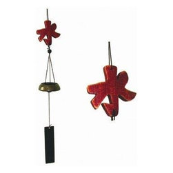 Oriental Furniture - 5 Elements Wind Chimes - Water - This interesting variation of a common wind chime has a cast brass bell and features a carved wooden symbol as the yoke. The symbol, water for abundance and health, is one of the five elements of Feng Shui.