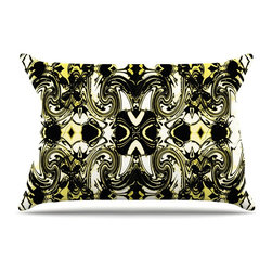 """Kess InHouse - Dawid Roc """"The Palace Walls II"""" Yellow Black Pillow Case, Standard, 30""""x20"""" - This pillowcase, is just as bunny soft as the Kess InHouse duvet. It's made of microfiber velvety fleece. This machine washable fleece pillow case is the perfect accent to any duvet. Be your Bed's Curator."""