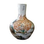 Golden Lotus - Vintage Chinese Porcelain Vase Mythical Painting - Vintage Chinese Porcelain Vase Mythical Painting