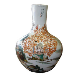 Golden Lotus - Vintage Chinese Porcelain Vase Mythical Painting - Vintage Chinese Porcelain Vase Mythical Painting