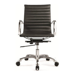 Fine Mod Imports - Eames Style Modern Conference Office Chair Mid Back Black - The Charles Eames Style Modern Conference Office Chair Mid Back offers unique design and comfort all in one package, making it a must-have for your contemporary office. Modern Conference Office Chair looks great in the modern office or home based workstation. This contemporary chair is perfect for any office environment. Chrome plated steel frame. 5 star base with casters. Tilt Lock Leatherette seat and back. Tilt Tension Removable Arms