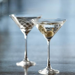 Rolf - Mid-Century Modern Martini Glasses - Finally, the perfect glassware to showcase your cocktails and shine! Whimsical etching individually accents each glass with a contemporary mid-Century design. Use these modern etched martini glasses to turn even the most everyday drink into a party.            * Set of 4 * Capacity: 10 oz.