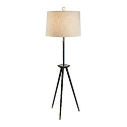 Jonathan adler - Jonathan Adler Ventana Tripod Floor Lamp Brass - Jonathan Adler Ventana Tripod Floor Lamp Black / Brass From the Ventana Collection by Jonathan Adler comes this unique tripod floor lamp. The natural linen shade with rolled edge hem sits atop a large wooden tripod frame. An Ebony finish with Natural Brass accents completes the look. A three-way pull chain provides just the right
