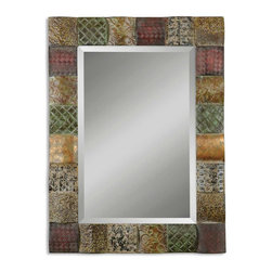 "Ganya Decorative Metal Mirror - This Decorative Mirror Features Hand Embossed Sheet Metal Over Convex Wooden Squares. Frame Is Finished In A Combination Of Rust Brown, Sage Green, Aged White, Antiqued Gold And Mahogany. Mirror Features A Generous 1 1/4"" Bevel. May Be Hung Either Horizontal Or Vertical."