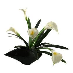 D&W Silks - D&W Silks Calla Lilies In Contemporary Resin Planter - Calla lilies in contemporary planter