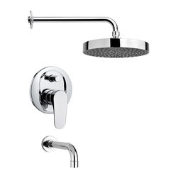 Remer - Polished Chrome Contemporary Tub and Rain Shower Faucet Set - Single function tub and shower faucet.