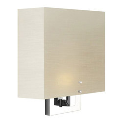 Stone Lighting - Zen Wall Sconce - Zen wall sconce features a Knoll textile fabric acrylic shade on square tubing. Also available with a frosted white acrylic diffuser. Finish available in bronze, polished nickel or satin nickel. Includes one 40 watt 120 volt A19 medium base incandescent or one 10 watt LED module. LED dimmable with manufacturer recommended Lutron low voltage electronic dimmer, sold separately. Also available in fluorescent version with two 13 or 18 watt 120 volt T4 G24q-2 compact fluorescent lamps. General light distribution. ETL listed. ADA compliant. 10 inch width x 13.75 inch height x 4 inch depth.