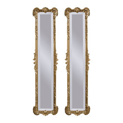 Bassett Mirror - Antique Gold Wall Mirrors - Pair - Antique Gold Finish - Set 2. Measures: 12 in. W x 50 in. H.