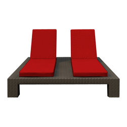 Forever Patio - Hampton Double Adjustable Chaise Lounge, Chocolate Wicker and Ruby Cushions - The Forever Patio Hampton Wicker Outdoor Double Adjustable Chaise Lounge with Red Sunbrella cushions (SKU FP-HAM-DACL-CH-FF) blends comfort, style and function, creating a perfect relaxation spot for two. The UV-protected, chocolate-colored wicker sports a flat woven design, creating a contemporary look with clean lines. Each strand of this outdoor wicker is made from High-Density Polyethylene (HDPE) and is infused with its rich color and UV-inhibitors that prevent cracking, chipping and fading ordinarily caused by sunlight. This outdoor chaise is supported by thick-gauged, powder-coated aluminum frames that make it more durable than natural rattan. This lounger includes fade- and mildew-resistant Sunbrella cushions for added comfort in your outdoor space.
