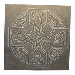 karmic stone/jmbpaul, artisan - Celtic Art- Hand carved artisan tile by karmic stone, No Color Added, 12 X 12 - Celtic motif hand carved in stone, this custom artisan tile is ideal as a focal point in an architectural or landscape installation.