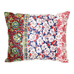 Acapillow - Floral Patchwork Pillow - Piecing together charming vintage fabrics like 1940s feed sack calico and antique French florals, this pillow adds instant boho flair to your space. It'll mix well with any number of prints in similar colors, so you can get as eclectic as you'd like with multiple mixed prints, or just leave the mixing to this single gypsy pillow.