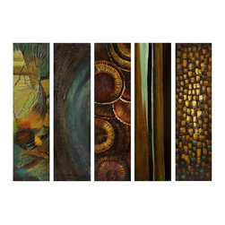 iMax - iMax Harper Canvas Wall Art X-5-42274 - A promiscuous collection of five wall panels that portray a whimsical display of colors and designs.