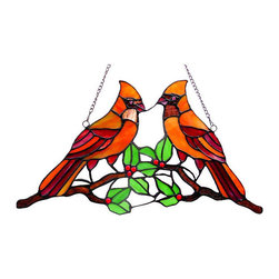 None - Tiffany Style Cardinal Design Window Panel/ Suncatcher - Add some character to your home by installing this art glass window piece; all mounting hardware is included. It features an image of cardinals perched on a branch,and is made of multiple colors.