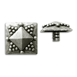 "Compliments Accessories - Senegal Tile Tack - 3/4"" Primitif Pyramid Tile Tack with a 1/4"" stem in a Pewter finish"