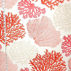 Red Coral Fabric Pink Salmon Orange Ocean, Standard Cut - A coral fabric with orange, pink, and salmon coral trees. An interesting ocean coral fabric for those who want something a bit different.
