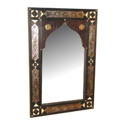 Middle Eastern Artisans - Leather & Bone Mirror - A touch of Moroccan style adds a sexy vibe to any room. Hang this mirror in a bathroom or bedroom for a dramatic look. Play off of metal, leather and bone accents for endless design opportunities throughout the room.