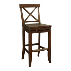 American Heritage - American Heritage Stetson 26 Inch Counter Stool in Dark Wood - Rustic and simple, this high-back stool is perfect for country style and primitive tastes. Crafted from wood with durable mortise and tenon construction, finished in Navajo with a contoured seat. Features include full-bearing 360 degree swivel construction, adjustable leg levelers, and a metal footplate. What's included: Stool (1).