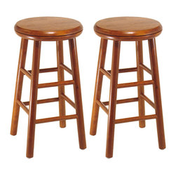 """Winsome - Set of 2 Swivel Seat 24"""" Stools - Cherry finsih. An old classic with a new twist. The 24 inch Swivel Bar Stool is perfect for any area of the home. The seat swivels for optimum comfort and accessiblity."""