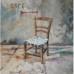 Chair At The Cafe (Original) by Gigi Genovese - Stucco walls, tile floor and the isolation of a single chair outside a street cafe  during my travels inspired me to paint this piece.