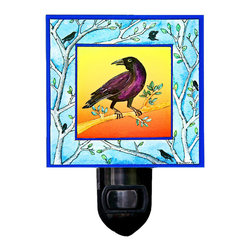 Crow Night Light - Our Crow Night Light is made of a print of original watercolor which is sandwiched in between two layers of durable acrylic. The light is UL approved and comes with a standard four watt night light bulb. Gift box included. Made in the USA. (Be sure to look for our crow wall clock and alarm clock and bird-themed magnets, too!)