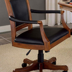 Hillsdale - Kingston Square Leather Back Game Chair - A completely mobile game chair, offering stability and durability in its design. The light cherry finish on the chair frame and base is subtle and accents the comfort of this great offering. The pleasing Light Cherry finish complements most room d̩cor settings and contrasts attractively with the soft black leather seating surfaces. Let the good times roll with this comfortable and classy game chair with durable metal casters. Gamers will delight in the comfort and support of this Cherry Frame Game Chair with Black Leather Back & Seat. * 5 Wheels for mobility. Black leather back seat. Leather padded armrests. Light Cherry finish. 25.5 in. W x 25.25 in. D x 39.5 in. H A completely mobile game chair, offering stability and durability in its design. A Cherry wood finish adds to the chairs elegance and contemporary design. Looks equally stunning in a home office in front of a desk or in a den.