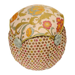 Salmagundi - Salmagundi Floral Dot Cupcake Tuffet - Miss Muffet had her very own tuffet — now it's your turn! Cozy up your home with this adorable little seat made from a sturdy wooden frame and rich fabrics. The fun, polka dot pattern of the base complements the elegant floral seat cushion for a look that's warm and inviting. Try it as a vanity seat where you can enjoy it every day.