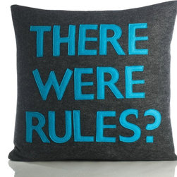"Alexandra Ferguson - Alexandra Ferguson There Were Rules Pillow-Charcoal/Turquoise - Pillow dimensions: 16"" x 16"" (approx) Recycled polyester fill insert included. The felt that I use is made from 100 percent post consumer recycled water bottles. So, you drink water, throw the empty bottle in the recycling bin. Then they are melted down and turned them into this beautiful, really high quality soft felt that I then use to make pillows. All pillows have a nylon zipper closure, with the alexandra ferguson logo embroidered on the center back bottom. Prefer a woven fabric base? Opt for our hemp blend - this imported fabric is 55% hemp / 45% organic cotton, is sustainable and biodegradable, and made from socially responsible practices."