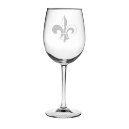 Susquehanna Glass - Fleur De Lis All Purpose Wine Glass, 16oz, S/4 - Each 16 ounce wine glass features a sand etched fleur de lis design. Dishwasher safe. Sold as a set of four. Made and decorated in the USA.