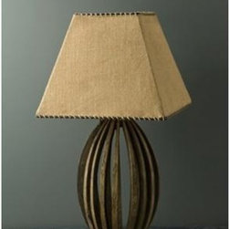BoBo Intriguing Objects - BoBo Intriguing Objects Wine Barrel Table Lamp - Reclaimed French wine barrel staves with burlap shade. Imported from Europe.Please note that items from BoBo Intriguing Objects are imported from Europe and the time it takes to receive these Intriguing Objects will vary. Should you have any questions regarding a timeline for these, or any of our products, please call our friendly staff at 1-800-440-5121.