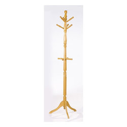 Homelegance - Deluxe Hall Tree w Umbrella Rack in Oak Finis - Six hooks. Made from solid wood. 72 in. H