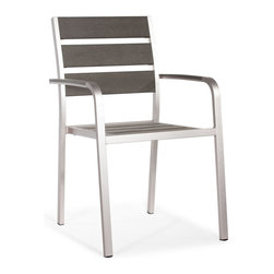 Zuo Modern - Zuo Modern Township Armchair in Brushed Aluminum - Armchair in Brushed Aluminum belongs to Township Collection by Zuo Modern The Township Arm Chair has a sturdy brusehed aluminum frame and a slatted faux wood seat and back. Chair (1)
