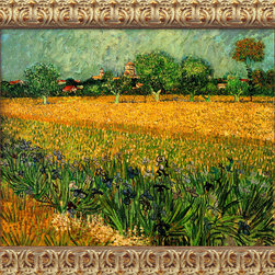 Amanti Art - View of Arles with Irises, 1888 by Vincent Van Gogh - This field of irises by Van Gogh reflects his poignant expressionism where vibrant color and rich, sharp imagery symbolize deep, emotional undercurrents.