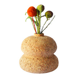Melanie Abrantes Designs - Double Cork Vase - Hand-turned cork bud vases are designed for a single flower or two, each one is unique and one-of-a-kind. The vases have a shellacked interior and finished on the outside with a natural orange oil and beeswax mixture.