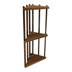 Teakworks4u - Teak Three Tiered Corner Shelf - This space-saving shelf fits just about anywhere. It is equally at home in the shower as it is in the garden. Solid Burmese Teak will withstand just about anything you can throw at it.