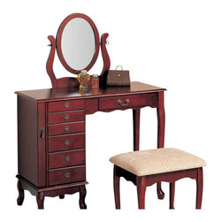 "Adarn Inc - Traditional Vanity Oval Swivel Mirror Fabric Seat Dresser Ample Storage Drawer - This elegant vanity set will be a nice addition to your traditional bedroom or dressing area. The generously sized top surface will give you plenty of room to get ready, so you can set out your hair products, make-up, and perfume as you dress. The vanity has a center drawer for brushes and frequently used items, while a side pedestal offers more storage drawers to meet your needs. An oval swivel mirror is attached too, reflecting light and adding another convenient detail to this set. The sophisticated cabriole legs, and shaped aprons create a beautiful look, all in a warm Cherry finish. Antique style metal hardware accents the piece. The matching stool completes this set, with the same elegant cabriole legs below a soft padded neutral fabric covered seat. Add this stunning vanity set to your home to create the perfect place to get ready for your day.Vanity:36""W x 16""D x 48.25""H;   Stool:16""W x 14""D x 17.5""H"