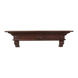 "Pearl Mantel - The Devonshire Fireplace Surround, Cherry, 60"" - Very top shelf. This elegant surround shelf gracefully elevates the status of your beloved treasures and collections to their rightful place over a headboard, fireplace or along a wall."