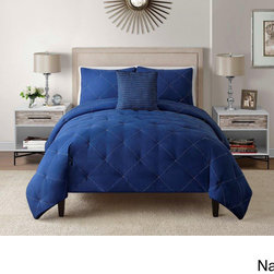 None - Charlotte Embroidered 4-piece Comforter Set - Be amazed with the luxury of the Charlotte Four-piece Comforter Set. Thick,comfortable and warm,the super soft components are made using a convenient machine washable 100-percent polyester available in king and queen sizes.