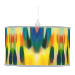 Fury Rain Abstract Art Pendant Lamp - Create a statement piece that will add instant style to your home décor with Abstract Art Lamps created form original artwork by Amy Vangsgard. Choose your trim and base for a special, one-of-a kind home accent. Choose from film polyester, rice paper, or linen lamp shades that are printed in vibrant color with fade resistant ink.