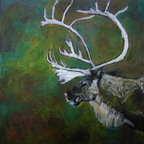 Elk by Mimi Gravel - Large format artwork - Mainly mixed medium on birch panel or canvas.