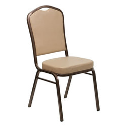 Flash Furniture - Hercules Series Stacking Banquet Chair with Tan Vinyl - Copper Vein Frame - This is one tough chair that will withstand the rigors of time. With a frame that will hold in excess of 500 lbs., the Hercules Series Banquet Chair is one of the strongest banquet chairs on the market. You can make use of banquet chairs for many kinds of occasions. This banquet chair can be used in Church, Banquet Halls, Wedding Ceremonies, Training Rooms, Conference Meetings, Hotels, Conventions, Schools and any other gathering for practical seating arrangements. The banquet chair is also great for home usage from small to large gatherings. For any environment that you use a banquet chair it will put your guests at a greater comfort level with the padded seat and back. Another advantage is the stacking capability that allows you to move the chairs out of the way when not in use. With offerings of comfort and durability, you can be assured that you can enjoy this elegant stacking banquet chair for years to come.