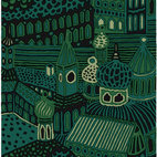 KUMISEVA GREEN - I am totally gaga over this abstract printed fabric that features exotic architecture. So much so, I want to wrap myself in it, or perhaps have it paper-backed and wrap my walls in it. It's also available in an orange/paprika palette. Designed by Katsuji Wakisaka in 1971.