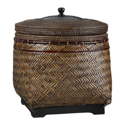 Rinjani Basket with Lid - Fall is the perfect time to bring some additional texture into your room, and this basket is loaded with charm. Adding browns, rusts and greens helps usher in the season.