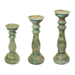 ecWorld - Sicily Distressed Wood Pillar Candle Holders - Set of 3 - Green Patina - Accent your shelves or tabletops with a touch of antiquity with this set of wood candle holders. A distressed finish allows imperfections in the wood to show through, so that each piece is unique - no two pieces are the same. The dramatic displays of candlelight make a festive gift or striking addition to your own tabletop, mantle or console.