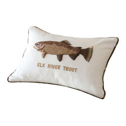 Taylor Linens - Elk River Trout Pillow - Fishing for compliments? Then hook one of these playful trout pillows. Perfect for the cottage or cabin, it's hand-appliqued and -embroidered on machine-washable cotton, and comes with a comfy goose feather and down insert. The reverse side is covered with a country plaid.